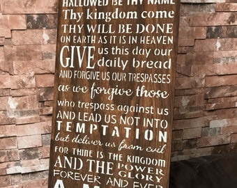 Large The Lords Prayer Stained Rustic Wood Sign