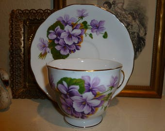 Sweet Vintage Royal Vale Bone China Teacup and Saucer From England With Violet Pattern
