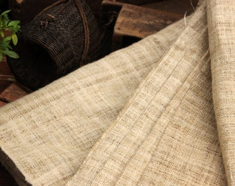"""Hmong Hand Woven Hemp Extra wide 19"""" Natural Organic Un-dyed New Fabric Textile By the Yard"""