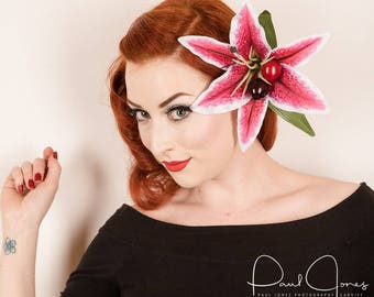 Rock Rockabilly Stargazer Cherry Lily hair flower fascinator clip