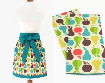 Womens Plus Apron & Tea Towel Gift Set, Plus Apple Apron and Matching Tea Towel, Plus Bridal Shower Apron Gift Set, Plus Apple Pear Apron