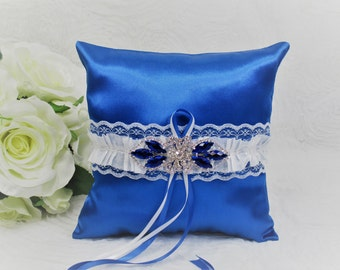 Royal Blue Satin and White Lace Ring Bearer Pillow, Blue and White Ring Pillow, Blue Wedding Accessories, Blue Wedding Pillow