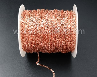 WT-BC080 New!!! 5Meter Hot Design Wholesale Rose Gold Electroplated Link Chain For Necklace Making,2mm rose gold charm chain