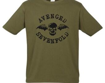 Avenged Sevenfold T-shirt New Khaki t shirt S M L XL XXL A7X Metalcore Slipknot Metallica