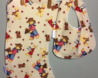 Cowboy Baby Bib, Burp Cloth Set