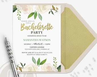 Bachelorette Party Invitation - Bachelorette Party Invite, Instant Download, Floral Bachelorette Party Invitation, Bachelorette Invite