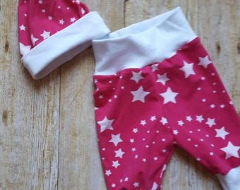 Fuschia and White Stars Newborn Coming Home Outfit; Newborn Hospital Set; Newborn pants and Hat Set