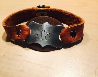 Minnesota State Leather Cuff Bracelet