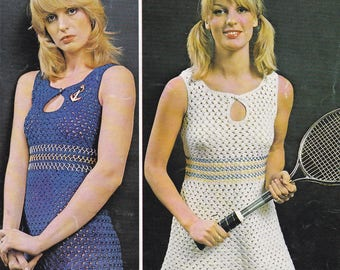 PDF crochet mini dress vintage crochet pattern pdf INSTANT download pattern only pdf 1970's dress two lengths