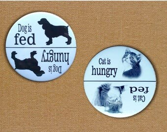 """Fridge Magnets, 3"""", Set of TWO: Cat and Dog, Fed or Hungry, Pet Feeding Reminders, Pencil Art, Cats, Dogs, Big Magnets"""