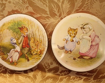 Two Vintage Huntley and Palmers Iced Biscuit tins Jemima Puddle Duck and two kitties