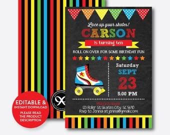 Instant Download,  Editable Roller Skating Birthday Invitation, Roller Skating Invitation, Roller Skate Invitation, Chalkboard (CKB.349)