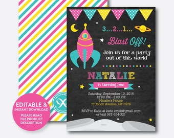 Instant Download, Editable Space Birthday Invitation, Outer Space Invitation, Rocket Invitation, Astronaut Invitation, Chalkboard  (CKB.65)