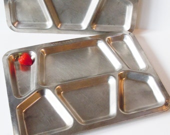 Trays from 1943 / 4 Stainless Steel Heavy Trays / Vintage Boy Scout Supplies / Vintage Barbeque / Better than Paper Plates!