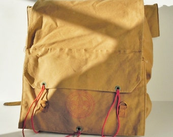 Canvas Backpack /  Tan Boy Scout Pack / Tan with Red  / Great Condition / Large / Clean / Faint Red Logo / HALF OFF