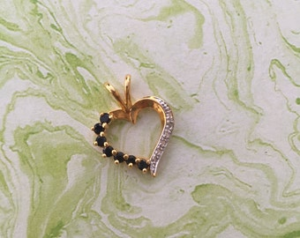 Sapphire Heart Pendant - Gold Overlay with Sterling Silver - September Birthstone Pendant