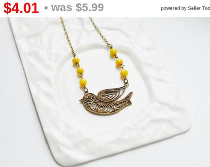 SALE! Necklace Swallow metal brass with natural quartz