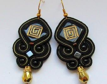 Soutache Earrings Black - Gold