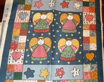 Country Angels Little/Tiny/Mini Cotton Quilt and Pillow Fabric Panel~Doll Crib/Cradle/Bed and 1/2 Yard Backing