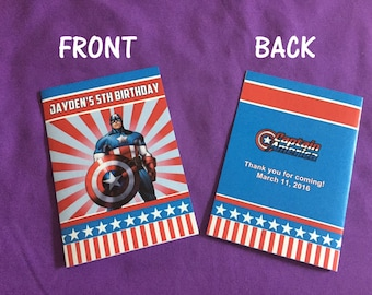 12 Personalized Captain America Coloring Books, Party Favors