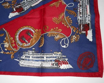 Delta Queen Steamboat Co Vintage Scarf red navy blue 35 by 35