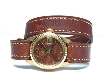 1981 Vintage Ladies Gold Rolex President with Burl wood dial and leather Double Wrap strap