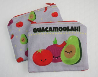 Guacamole Coin Purse, Avocado Change Purse, Small Money Pouch, Cute Guac Money Bag, Avocado Tomato Purse, Stocking Stuffer, Avocado Lover