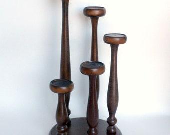 Wood Candelabra, Wooden Candle Holder, Five Candle Candelabra, Spindle Candle Holder, Wood Candle Stand, Votive Candle Holder