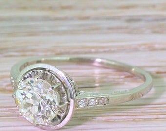 Art Deco 1.68 Carat Old Cut Diamond Engagement Ring, circa 1940