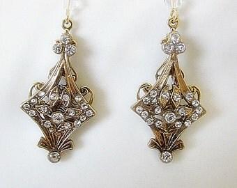 Rhinestone Earrings, Rhinestone Dangles, Wedding Earrings, Bridal Earrings, Rhinestone Jewelry, Bridal Jewelry, Art Nouveau Dangle, Art Deco
