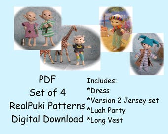 PDF 4 Sewing Pattern Set for mini BJD Fairyland Real Puki