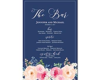 Printable Bar Menu Sign, Wedding Printable Bar Menu Sign, Wedding Bar Menu Poster, Wedding Sign, Wedding Bar Menu, Drink Menu #CL331