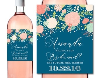 Will You Be My Bridesmaid? Wine Labels, Bridesmaid Wine Bottle Labels, Ask Bridesmaid, Bridesmaid Maid of Honor Gift, Wine Labels #CL332