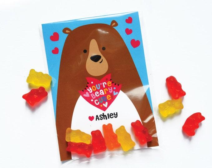 Valentines Day Bear Cards, printable DIY Valentine classroom cards, Valentine for kids classroom, Valentine's Bear