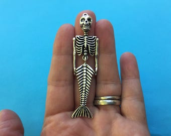 1 Mermaid Skeleton Charm Antique Silver 7.3cm x 1.8cm - SC690