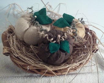 Table centerpiece Holiday table centerpiece, Thanksgiving decoration, Fabric pumpkin, Basket centerpiece, Holiday decoration