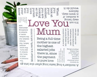 Love You Mum Card; Birthday Card For Mums; Card For Mothers; Mother Card; Mom Card; Card For Moms; Mums Birthday; GC580