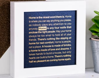 Framed Gold Foil Home Print; Housewarming Gift; New Home Gift; Home Quotes; Gold; Blue; Metallic Foil Print; FMS016