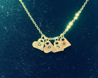Mini Heart Stamped Initial Monogramed Necklace