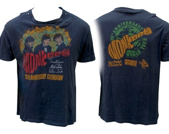 1980s The Monkees 20th Anniversary World Tour Tee T Shirt British Invasion TV Land Fab Mod Psychedelic Beatles Folk Roots Rock Classic Rare
