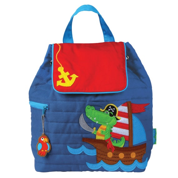 Toddler Stephen Joseph Quilted Pirate Backpack, Personalized Children's Backpack, Kids Backpack, Monogrammed Diaper Bag.