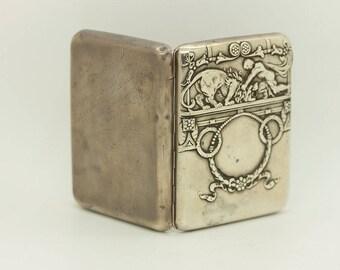 Antqiue original silver russian lion decorated  cigarette case