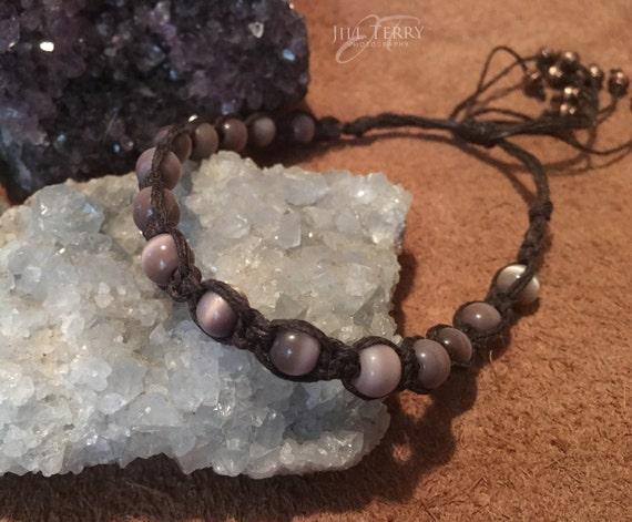 Macrame Lavender Czech Beaded Bracelet / Anklet