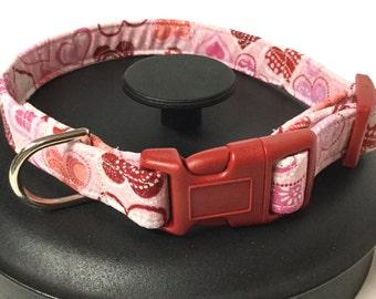 Dog collar, valentine dog collar, hearts dog collar, pink dog collar, holiday dog collar, adjustable dog collar, puppy collar, pet gift