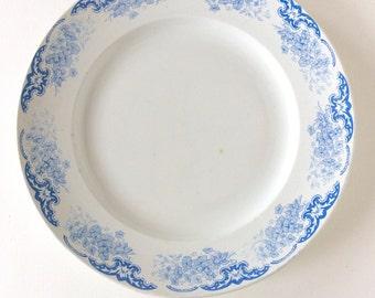 Ironstone plate. Blue and white transferware. Antique ironstone. French plate. Blue transferware.KG Luneville. French Ironstone plate. Large