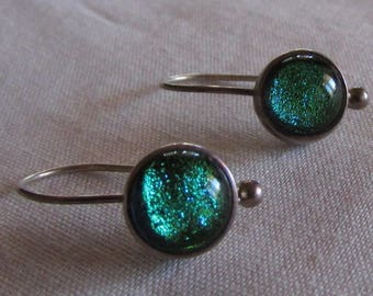 Art Glass and Sterling Silver Dangle Wire Earrings
