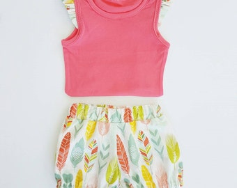 Nappy Cover Shorts & Singlet Set - Aztec Feather Bloomers