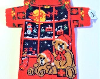"""Dog SWEATER 15"""" Upcycled Christmas"""