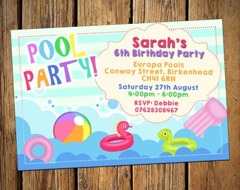 Kids Birthday Personalised Party Invitations Pool Party Pastel