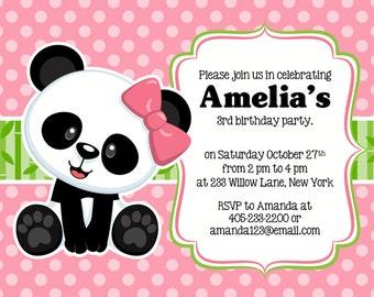 Panda Party Invitation, Panda Invitation, Panda Party Invite, Panda birthday invitation, panda birthday party supplies, PRINTABLE